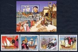 BURKINA FASO 1985 Columbus Set And Block MNH / ** - Burkina Faso (1984-...)