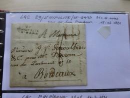 Saint-Hypolite-le-Gard 1823, Marque Linéaire, TB Texte Vers à Soie, Vignes, Fruits ; Ref 516 CL - Marcofilia (sobres)