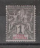 COTE D'IVOIRE 1892, Type Groupe , Yvert N° 1 , 1  C Noir Neuf * / MH  TB - Côte-d'Ivoire (1892-1944)