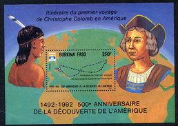 BURKINA FASO 1992  Columbus: Discovery Of America  Block MNH / ** - Burkina Faso (1984-...)