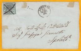 1854 - Devant De Lettre De La Cité Du Vatican Vers Spoleto - Affranchie à 2 Bajocchi - Annulation Du Timbre Manu - Vatican