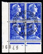 """FRANCE - N°1011B - 20 F Bleu - Marianne De Muller En Bloc De 4 - Oblitération ALGER - """"Timbre De Métropole Du 22.7.58"""". - 1955- Marianne (Muller)"""
