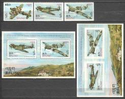 Bhutan 1967 Mi 152-154 + Blocks 7A-7B MNH CHURCHILL AIRPLANES - Flugzeuge