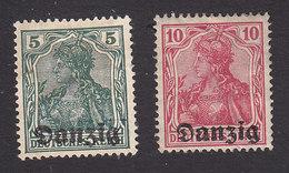 Danzig, Scott #1-2, Mint No Gum/Hinged, Germania Overprinted, Issued 1920 - Danzig