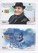 Wadih El Safi  2014 2 Used Phonecards Lebanon , Liban Telecarte  Libano