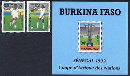 BURKINA FASO 1992 African Nations Football Cup Set And Block  MNH / ** - Burkina Faso (1984-...)
