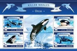 MALDIVES 2015 SHEET KILLER WHALES WALEN ORCAS BALEINES BALLENAS BALEIAS BALENE MARINE LIFE Mld15703a - Maldive (1965-...)