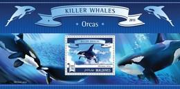 MALDIVES 2015 SHEET KILLER WHALES WALEN ORCAS BALEINES BALLENAS BALEIAS BALENE MARINE LIFE Mld15703b - Maldive (1965-...)