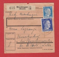 Colis Postal  --  Départ Montingen   --  Pour Farrebersviller  --  01/3/1943  --  Cachet Seingbouse Au Dos - Occupazione 1938 – 45