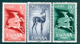 SPANISH SAHARA 1961 Child Welfare, Dorcas Gazelle Set (3v), XF MNH, MiNr 221-3, SG 187-9 - Stamps