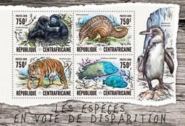 CENTRAFRICAINE 2016 SHEET ENDANGERED SPECIES ESPECES EN VOIE DE DISPARITION MONKEYS PANGOLINS TIGERS WILDLIFE Ca16408a - República Centroafricana