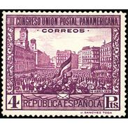 ES612STV-LFT***612STFSC.Spain.Esgane.BANDERA,UNION POSTAL PANAMERICANA.Puerta Del Sol.1931 (Ed 612**) - Fiestas