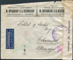 1939 Greece Cycles Advertising Censor Airmail Cover - Germany - Covers & Documents