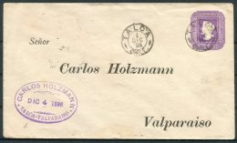 1896 Chile. Carlos Holzmann, Talca - Valparaiso Stationery Cover - Chile