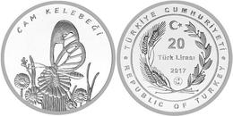 AC - GLASSWINGED BUTTERFLY GRETA OTO THE ANIMAL SPECIES RECORDED IN TURKEY COMMEMORATIVE SILVER COIN 2017 PROOF UNC - Turchia