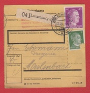 Colis Postal  --  Départ Luxembourg 2 --  22/12/1942 - Cartas