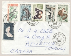 Madagascar - 1962 - 6 Stamps On Cover From Tananarive To Ontario / Canada - Madagaskar (1960-...)