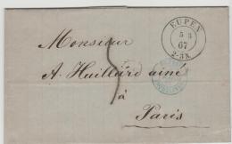 BEM006 / Eupen 2-Kreis-Stempel 1867 Nach Paris. - Briefe U. Dokumente