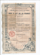 EXPOSITION UNIVERSELLE DE 1889 BON A LOT DE 25 FRANCS AU PORTEUR ILLUSTRATION D'HENRI DANGER - Shareholdings