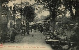 CLICHE RARE      Indo Chine - Tonkin - Hanoi - Marché Au Village Des Cochons - Vietnam