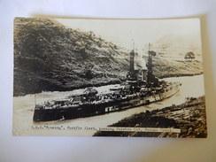 USS WYOMING, PACIFIC FLEET, PASSING CULEBRA CUT, PANAMA CANAL - STEAMSHIP - PAQUEBOT - MILITARY - Krieg