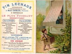 1Trade Card  Music Instrument Orgue De Barbarie Rotary Organ Pub Vin Lechaux Litho L.Richon Paris Carte Pliante - Otros