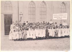 ESCUELA EVANGELICA ARGENTINA DE NIÑAS PALERMO FOTO ORIGINAL AÑO 1899 FUNDADA POR EL PASTOR WILLIAM C. MORRIS - Lugares