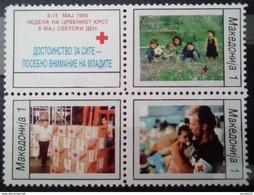 MACEDONIA 1994 Red Cross,Life Saving. Block Of 4 MNH - Macédoine