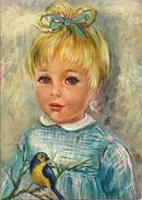 JEUNE  FILLE  AVEC L'OISEAU   ANNEE 1969 - Portraits