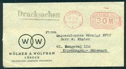 Germany. Infla Werbebrief Mit Freistempel LÛBECK  Im Ort 1923. Drucksache Send To Denmark - Deutschland