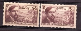 1939 - Fond Jaune / Fond Blanc - N° 437 - Neufs ** - Debussy - Errors & Oddities