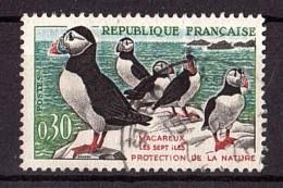 """1960 - Variété """"houppe Sur Le 4ème Macareux"""" - N° 1274a Oblitéré - Macareux-moines - Errors & Oddities"""