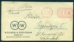 Germany. Infla Werbebrief Mit Freistempel LÛBECK  Im Ort 1923. Drucksache Send To Denmark - Briefe U. Dokumente