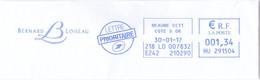 Bernard Loiseau - Beaune Côte D'Or 30-01-2017 EMA Meter Freistempel - Postmark Collection (Covers)