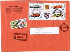 1985 ITALIA LETTERA DA MADONNA DI CAMPIGLIO A BRESCIA BLOCCO AUTOMOBILI RACCOMANDATA - 1981-90: Storia Postale
