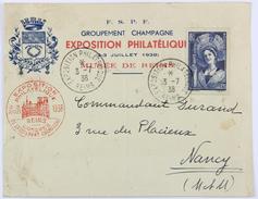 Enveloppe 1938 Exposition Philatélique Reims, Affr. 1 F 75 Champagne YT 388 - France
