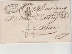 Lettre Cachet MARSEILLE 11/5/1841 Taxe Manuscrite + 1 D   Pour Le Bar Par Grasse Var - Marcophilie (Lettres)