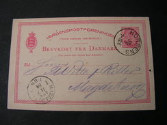 Karte Horsens Nach  Magdeburg 1884