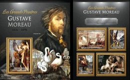 Centrafrica 2013, Art, Gustave Moreau, Birds, Cignus, 4val In BF+BF