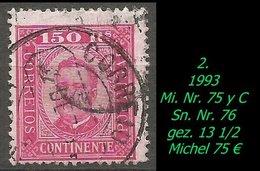 Portugal - 1893 - Mi. Nr. 75 Y C - Sn. Nr. 76  - Gezähnt 13 1/2 - Gebraucht