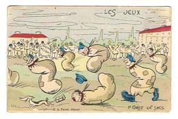 CPA MILITARIA HUMORISTIQUE Les Jeux La Course En Sac - Humoristiques