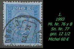 Portugal - 1893 - Mi. Nr. 76 Y B - Sn. Nr. 77  - Gezähnt 12 1/2 - 1892-1898: D.Carlos I