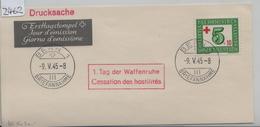 1945 PAX W24/464 FDC - Stempel: Bern 1 Tag Der Waffenruhe Cessation Des Hostilites Briefteil - FDC