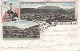 Litho Gruss Aus PIESTING, Gel. 1898, Verlag Schwidernoch, Auf Rückseite Klebespuren S.Scan - Autriche