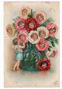 Bouquet D'oeillets, Avec Têtes D'enfants Et Petit Ange. (1392) - Fantaisies