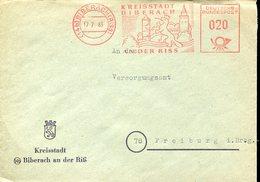 20848 Germany, Red Meter/freistempel/ema/1963 Biberach Kreisstadt, Castle, Schloss Chateau,circuled Cover - [7] West-Duitsland