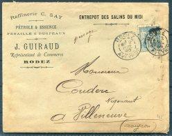 1896 France Rodez Aveyron. Guiraud Oil Company / Petrole & Essence Cover + Documents (2) - Storia Postale