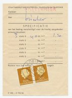 Em. Juliana 1958 Port Specificatie Formulier Zoetermeer - Periodo 1891 – 1948 (Wilhelmina)