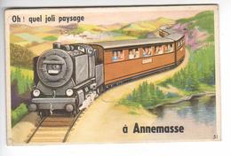 (n°638) CPSM 74 ANNEMASSE Carte à Systeme  Tiroire Oh Quel Joli Paysage Train Chemin De Fer Annemasse 1956 N°51 Complet - Annemasse