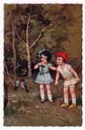 Deux Enfants Dans Les Bois Avec Couple D'oiseaux. (1397) - Fantaisies